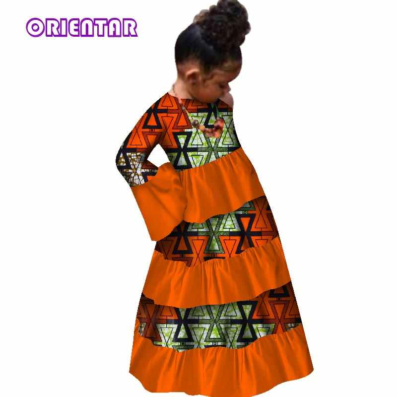90aaeee2c6e African Children Baby Girls Long Dresses Traditional African Print Bazin  Riche Flare Sleeve Party Dress Kids