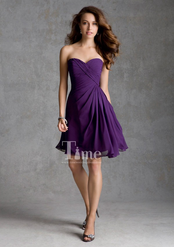 Online Shop short purple bridesmaid dresses blue/red/orange/green ...