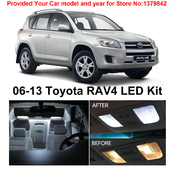 Free Shipping 6pcs Lot Car Styling Xenon White Premium Package Kit Led Interior Lights For Toyota Rav4 2006 2017