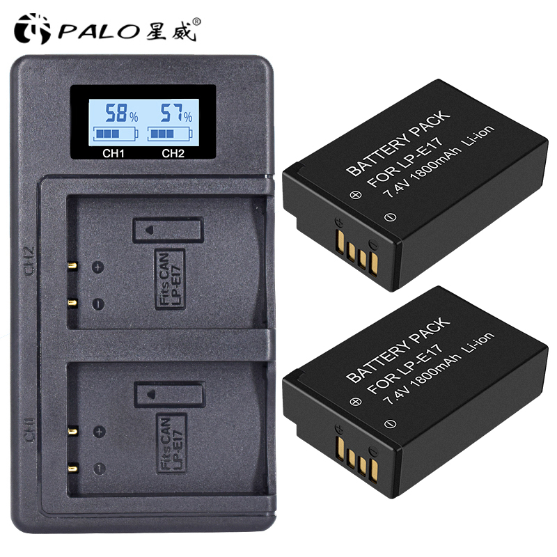 PALO 2 piezas LPE17 LP E17 LP-E17 batería Cámara + LCD USB cargador Dual para Canon EOS M3 M6 200D 750D 800D 8000D 760D T6i T6s beso X8i