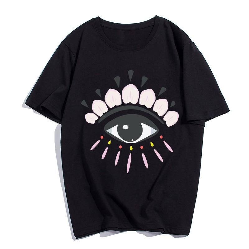 DAYIFUN 2018 new Cotton t shirts short sleeves t-shirt women Fashion eyes Print t shirt men tops tees casual t shirt women T-085