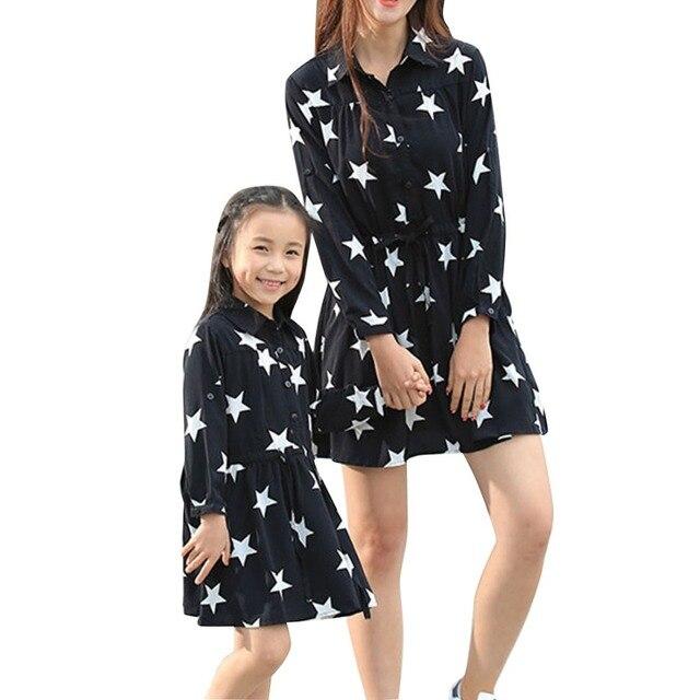 2016 весна осень Семья Соответствующие Наряды Мать Дочь Звезды Печати платье юбка талии с длинным рукавом лацкане Семья одежда