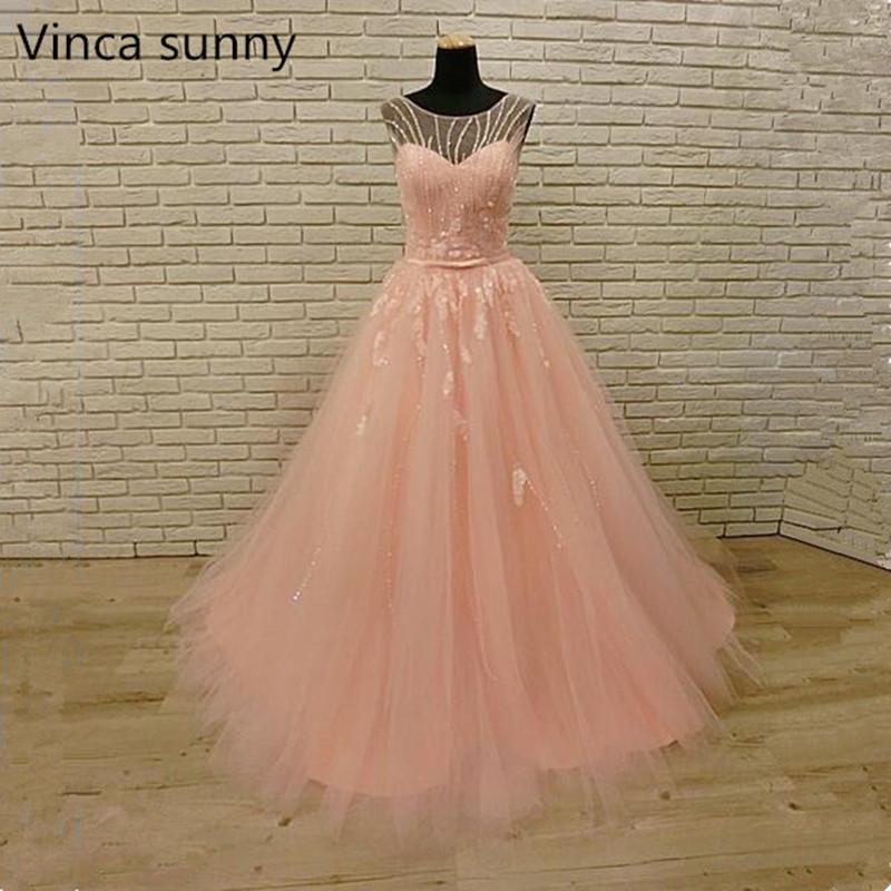 Vestido Para Festa Pink Prom Dresses Sheer Back A Line Crystal Beaded Tulle Wedding Party Dress 2018 Women Occasion Gown