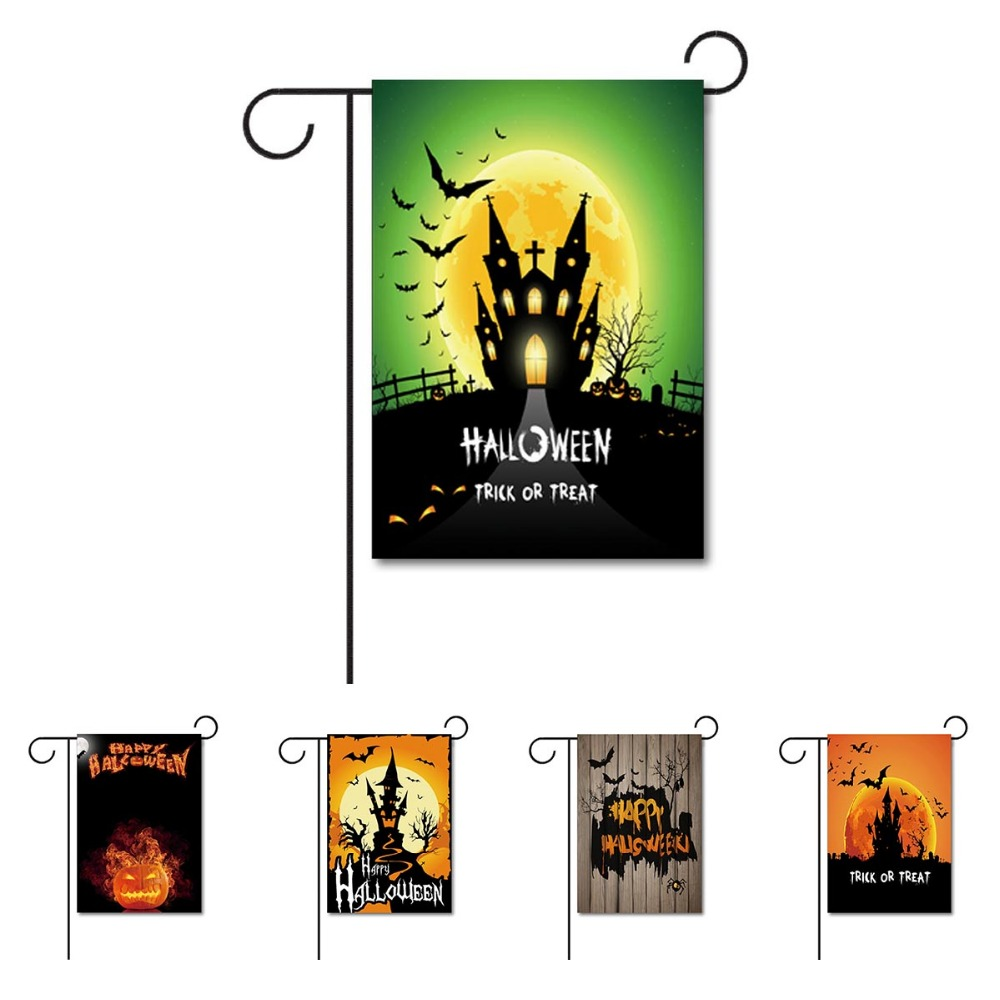 Happy Hallowmas Home Decorative Garden Flag beach With castle and pumpkin outdoor 100% Polyester Yard Banner Double Sides