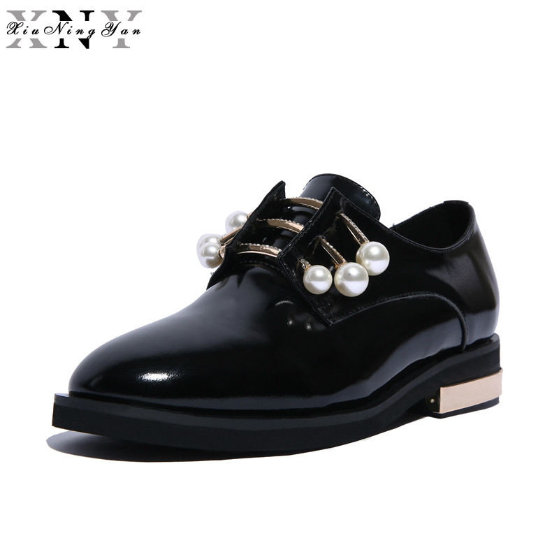 XiuNingYan Women Flats Oxfords Genuine Leather Women Casual Shoes Loafers Slip on Woman Brogues Pearl Brand Big Size Handmade enmayla most popular portable ladies loafers casual shoes woman ballet flats shoes women slip on flats shoes big size 34 43
