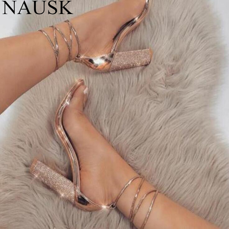 NAUSK 2018 Fashion Women Sandals 2018 Open Toe High Heels Shoes Woman Clear Transparent Summer Ankle Strap Lace Sandalias Mujer