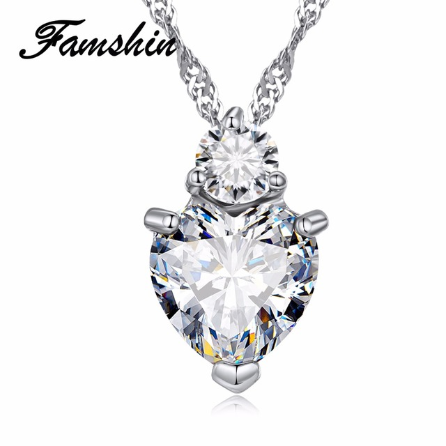 FAMSHIN Fashion 3 Colors Charms Zircon Heart love Women Pendant Necklace for  Women's Necklace Crystal Jewelry Gifts