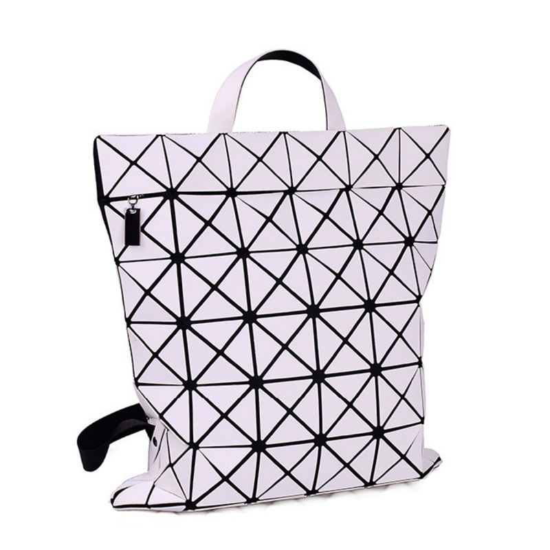 Fashion Women Geometry Backpack PU Leather Diamond Lattice Teenage Girls Female School Bags Bagpack Mochila Black Shoulder Bag