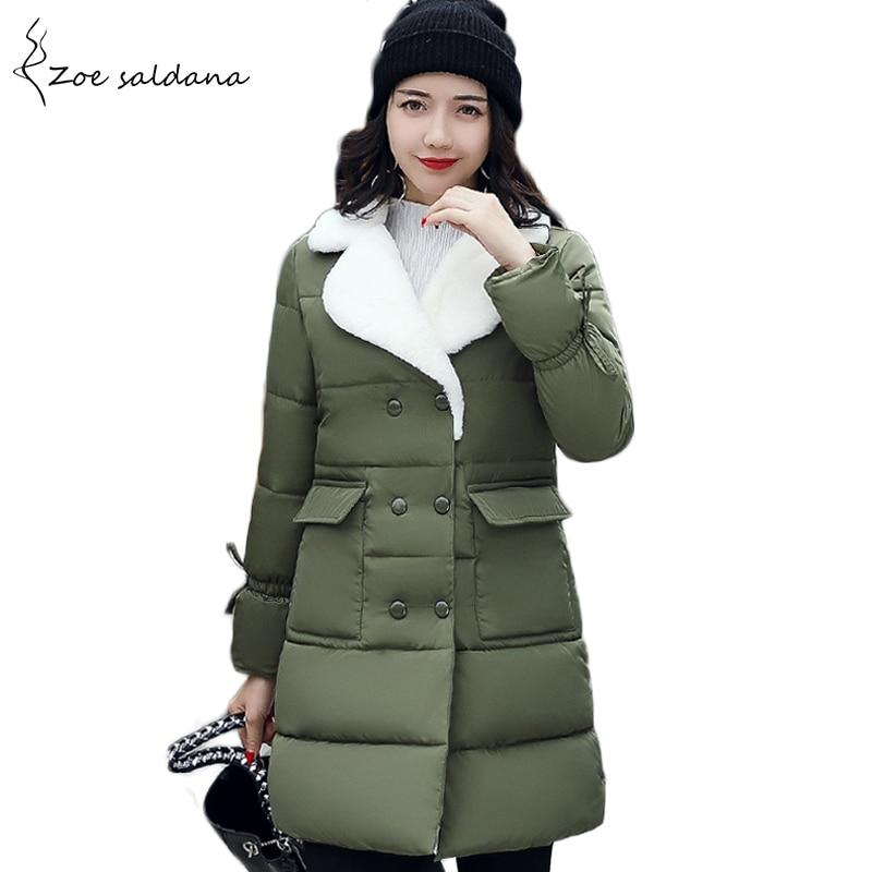 Zoe Saldana 2018 Winter Jacket Women Warm Fur Collar Thicken Long Parka Female Solid Cotton Padded