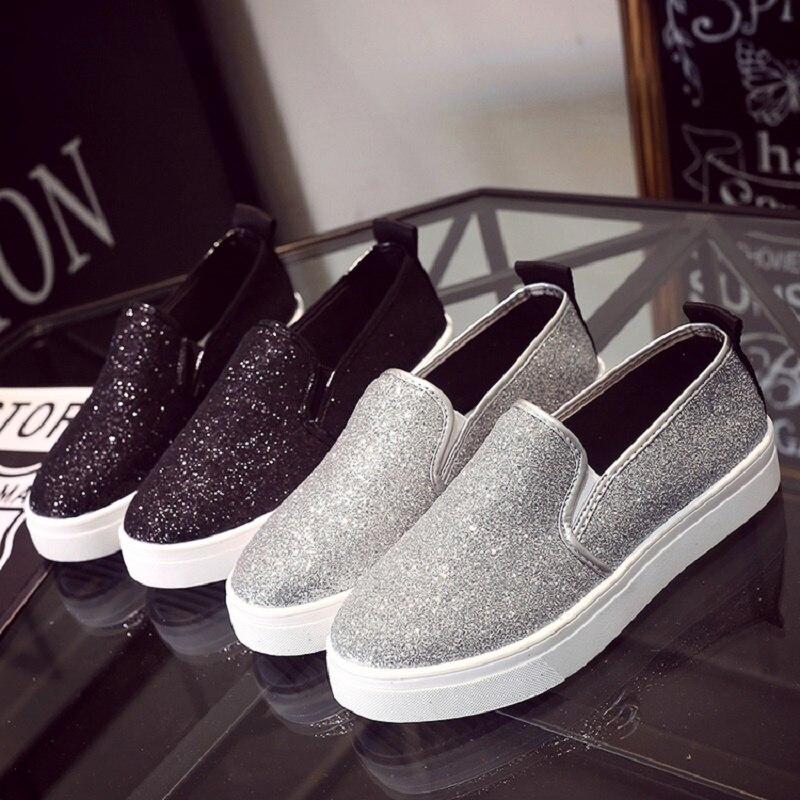 Chaussures Nouveau Paillettes Loisirs Choisit Des Femmes Toile De Printemps Mode Plates Noir 2018 Étudiant argent AqTpXX