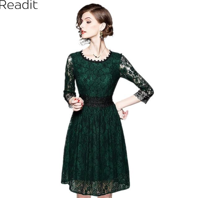 03ea06026f8e Readit Lace Dress 2018 Spring Women Dress Transparent Sleeve Floral Printed  Green Black Flower Waist Cotton Blends Dress D2809