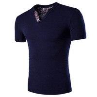 2016 Hot Men Clothes T Shirt High Elastic Cotton Men S Solid Short Sleeve V Neck