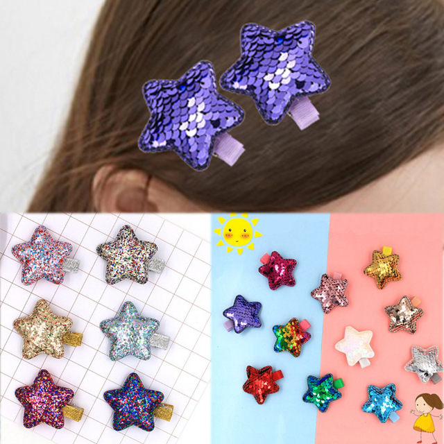 eab018f36f7e3 1Pair Kartoon Party Star Shaped Double Color 2018 New Arrival Gifts Hair  Clip Girls Allergy Free Korean Fish Scale Kids