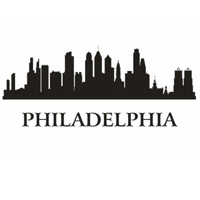PHILADELPHIA City Decal Landmark Skyline Wall Stickers Sketch Decals Poster Parede Home Decor Sticker