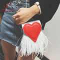 New design fashion feathers red heart pu leather Party Casual female totes ladies handbag chain shoulder bag phone purse flap