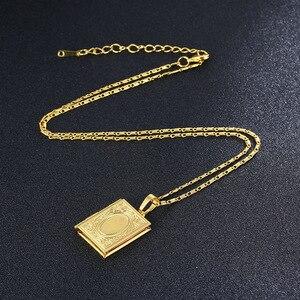 Image 4 - Gold Farbe Islam Allah Muslimischen Halskette Quran Koran Buch öffnende Box Anhänger Mit Kette Muhammad Religion Schmuck Geschenk