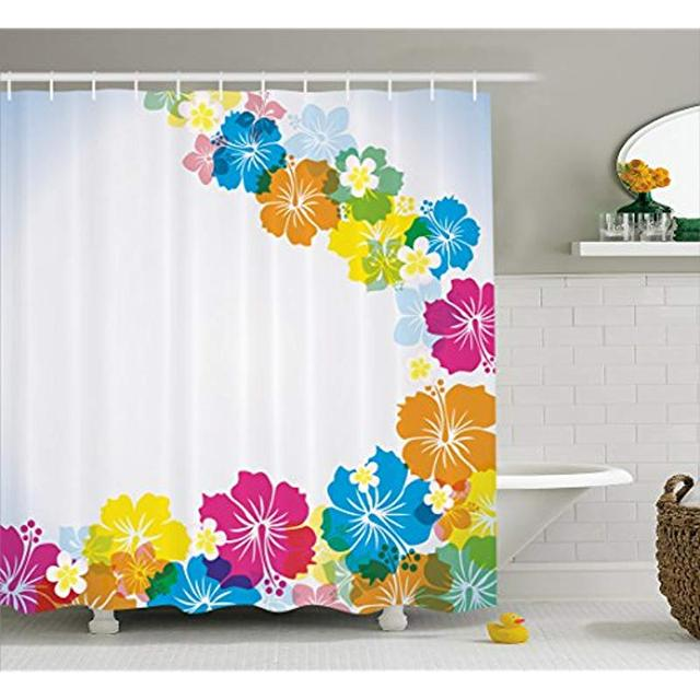 Vixm Luau Shower Curtain Vibrant Colorful Border Design With Blossoming Hibiscus Polynesian Springtime Aloha Bath Curtains