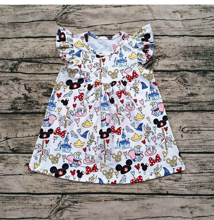 Niñas verano último diseño moda Casual Flutter vestido de los niños de Mickey