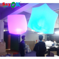 Colorful Cube and Round Balloon Led Lighting Advertisement Inflatable Backpack Balloon for Wedding or Party