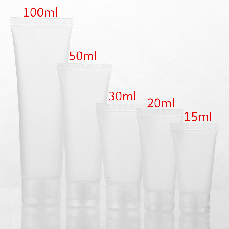 50pcs/lot 15ml 20ml 30ml 50ml 100ml Clear Plastic Soft Tubes Empty Cosmetic Cream Emulsion Lotion Packaging Containers