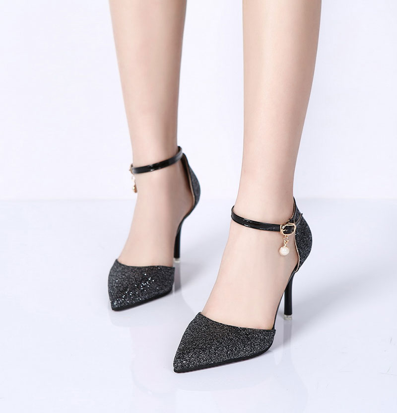 Lucyever Fashion Buckle Crystals Bling Pumps Women Elegant Thin High Heels Point toe Party Wedding Shoes Woman Glod Sliver Black 9