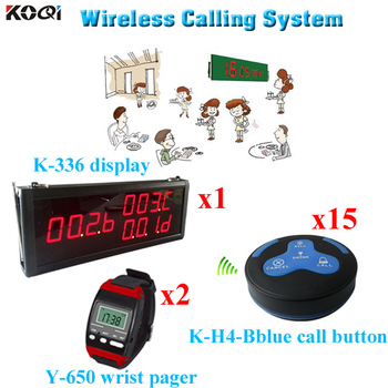 Pager Waiter Calling System Used Restaurant Equipment (1 display 2 wrist watch 15 call button)
