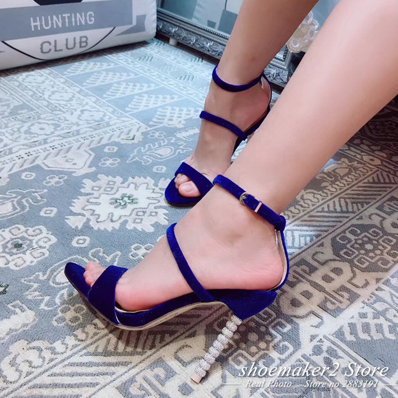 1ecfb74f1 2018 Rhinestone Bead Heel Velvet Gladiator Sandals Woman Open Toe Rosy Red  Pink Green Black Purple Pumps Women Party Shoes -in High Heels from Shoes  on ...