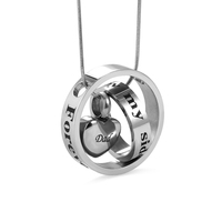 AILIN Engraved Two Circle with Love Heart Forever In My Heart Stainless Steel Cremation Urn Necklace For Ashes