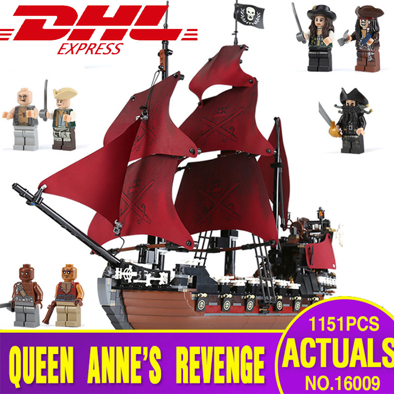 Ship From Spain 16009 the Queen Anne's revenge Pirates of the Caribbean Building Blocks Set Compatible 4195 Kids Toys Model