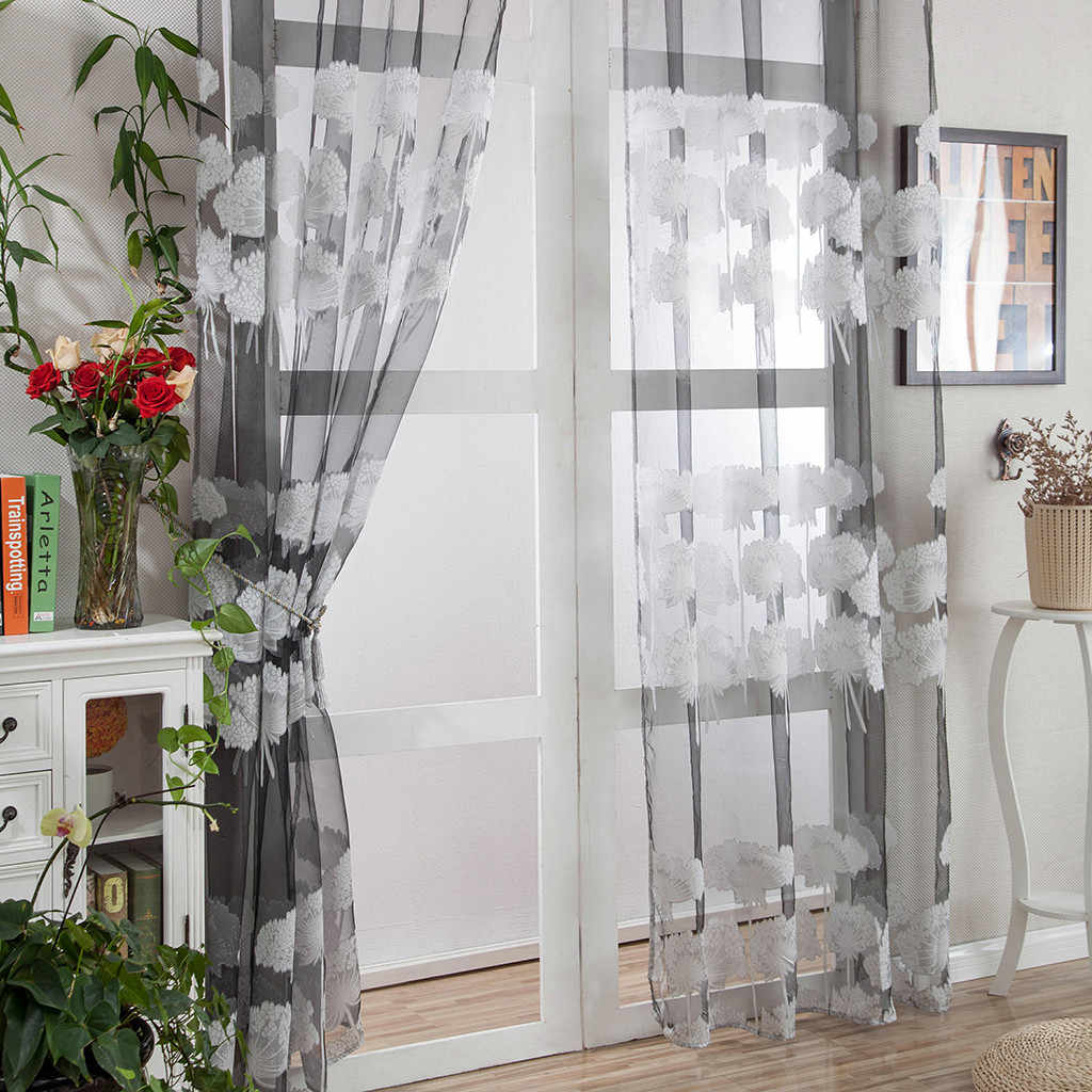 Leaves Tulle Door Window Curtain Drape Panel Sheer Scarf Valances Voilages Rideaux Voilages Window Treatments Voile Curtain
