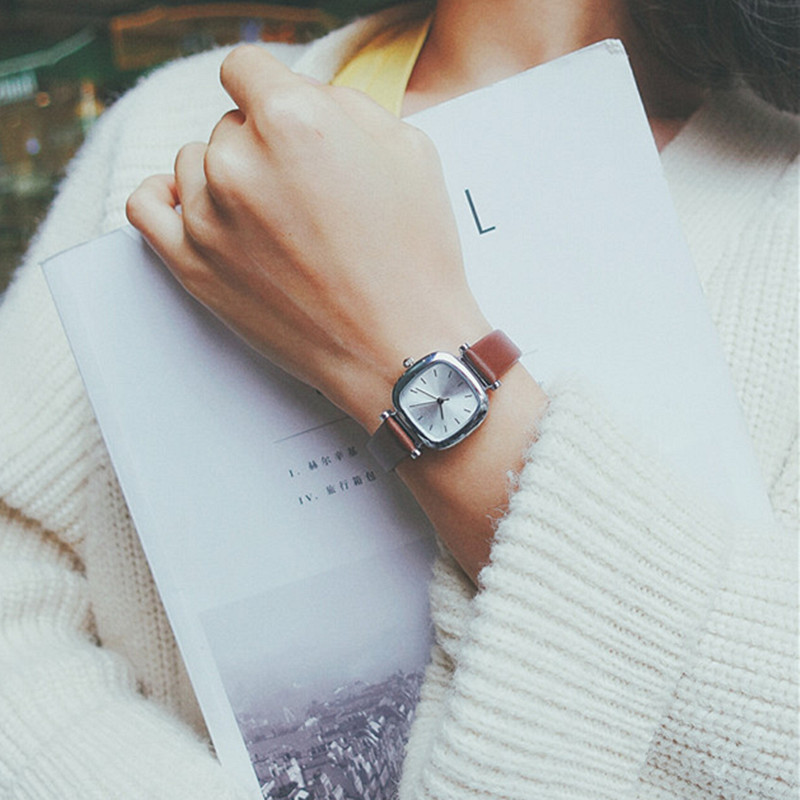 Leather Square Dial Stylish Small Women's Watch 2