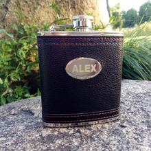 6oz /9oz Personalized Hip Flask Custom black leather stainless steel Laser Engraved Gift for Him, Groomsmen Gifts