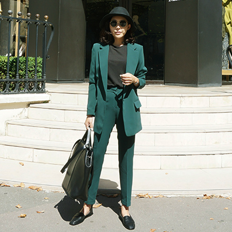 Women's Trouser Suit Temperament Business Green Suit Jacket Female High Quality Casual Pants Set Two-piece 2019 New