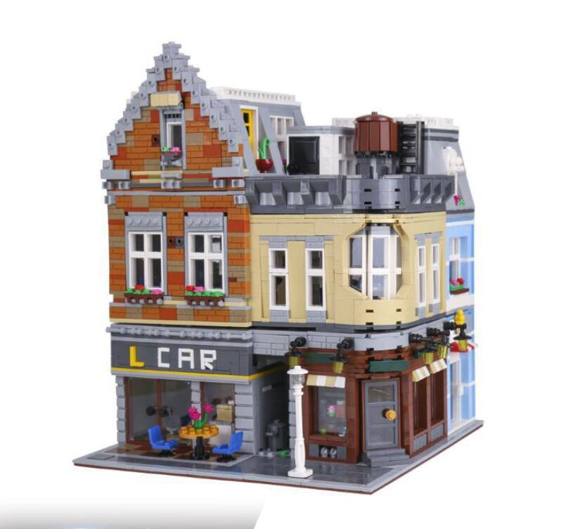 В наличии LEPIN 15034 4210 шт. серия MOC Новое городское здание набор строительных блоков кирпичи развивающие игрушки модель как подарки для мальчик