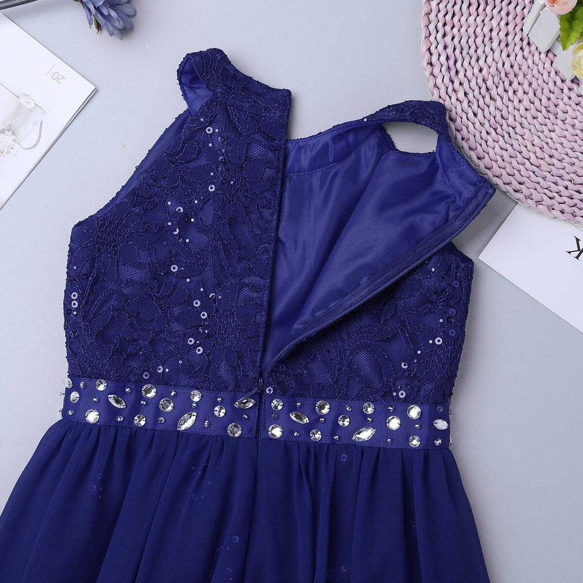 Image 5 - Детское платье макси без рукавов с цветочным кружевом и блестящими стразами для девочек; Вечерние платья для дня рождения; Танцевальный комбинезон; Платье для балетаБалет    АлиЭкспресс