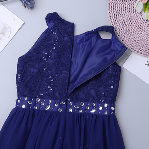 Image 5 - Kids Girls Sleeveless Floral Lace Shiny Rhinestone Maxi Dress Birthday Party Formal Dance Romper Gowns Ballet Performance Dress