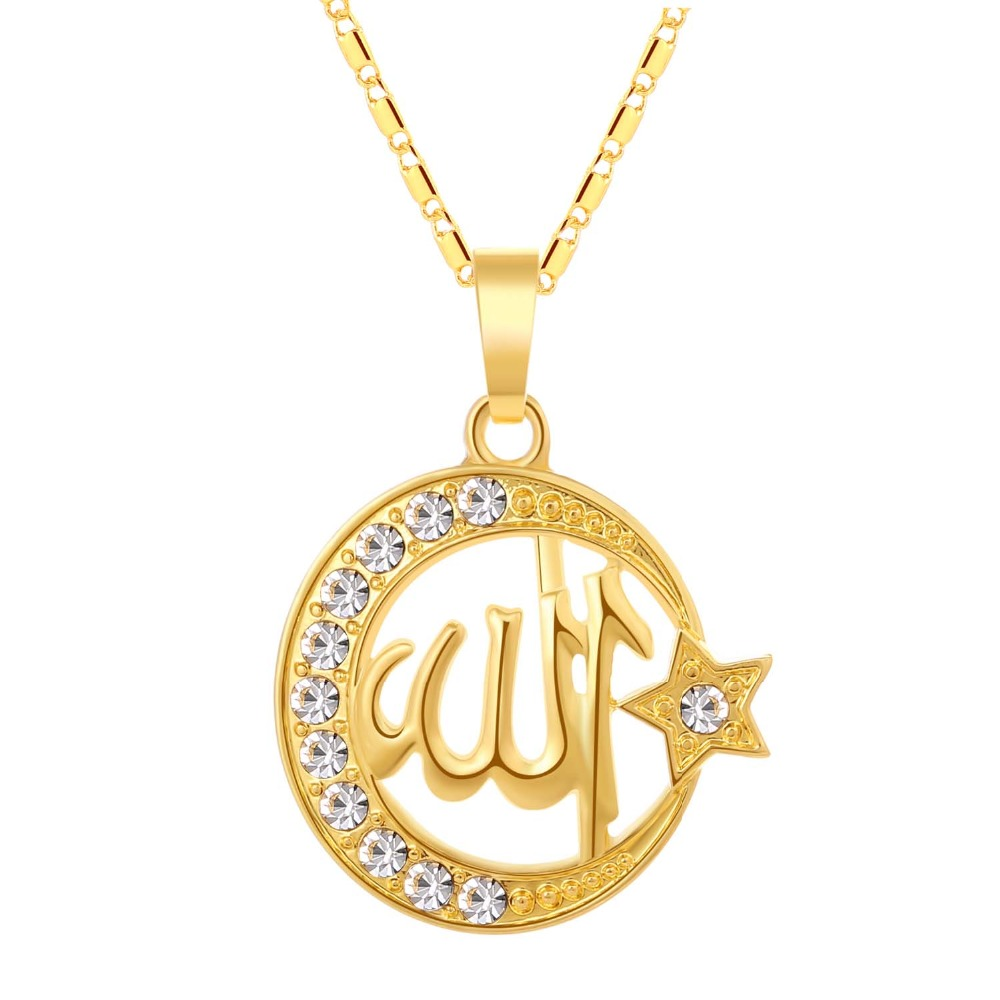 US $1 64 45% OFF|SONYA Islamic Allah Muslim Pendant Necklace Men/Women  Jewelry Cubic Zirconia Moon And Star Religion Muslim Jewelry Women  Bijoux-in