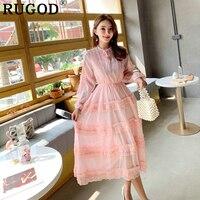 RUGOD Elegant summer women dress korean style lolita lace patchwork mesh dress lace bow tied cute fashion femme sukienki