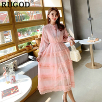 RUGOD Elegant summer women dress korean style lolita lace patchwork mesh dress lace bow tied cute fashion femme sukienki