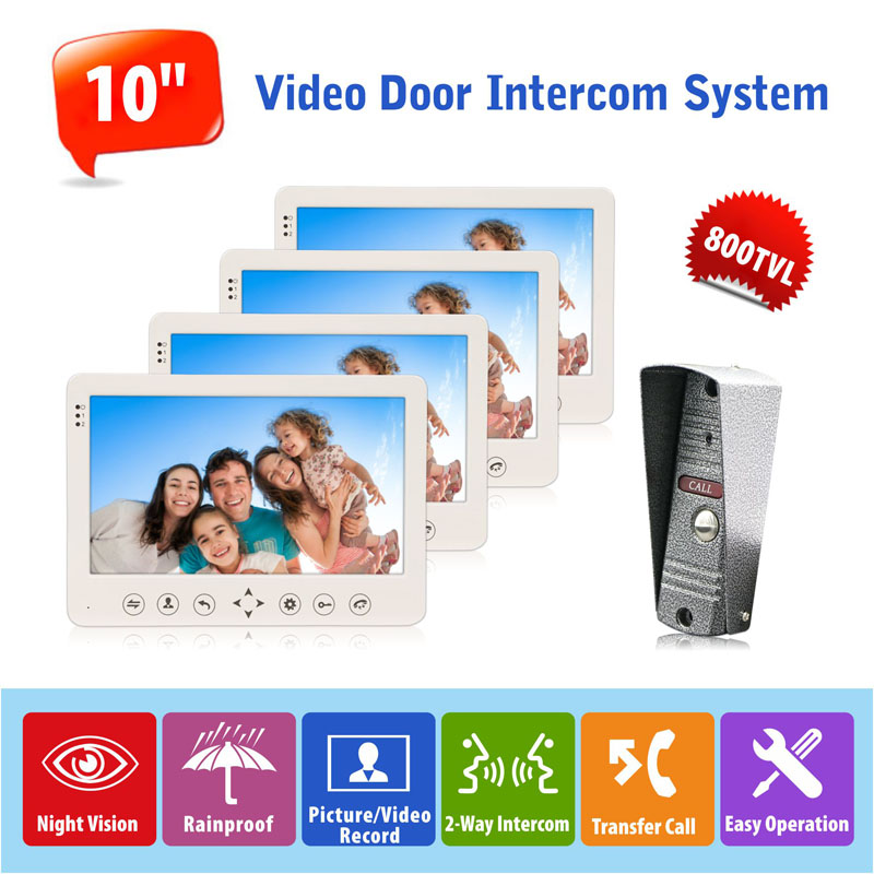 все цены на Home 10 inch Color LCD Video DoorPhone Intercom System Kit 4 Monitor & 800TVL Waterpoof Wide Angle Call Panel Camera онлайн
