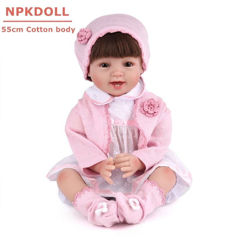 NPKDOLL Bebe Reborn 55 cm réaliste doux Silicone bébés Reborn poupée Boneca jouet pour bébé fille 2018 mode cadeau d'anniversaire Brinquedo