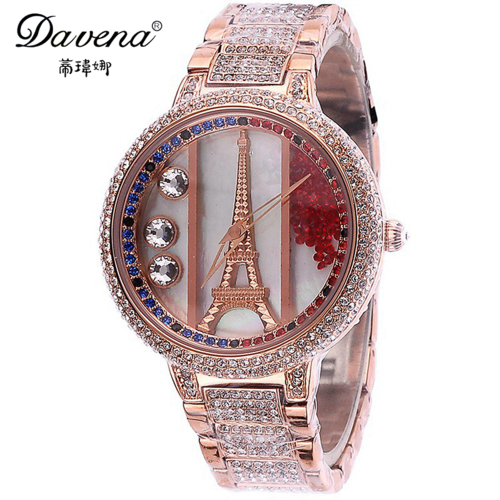 Ladies Eiffel Wristwatch Women Dress Rhinestone Watches Fashion Casual Quartz Watch Steel Band Luxury Brand Davena 60129 Clock duoya fashion luxury women gold watches casual bracelet wristwatch fabric rhinestone strap quartz ladies wrist watch clock
