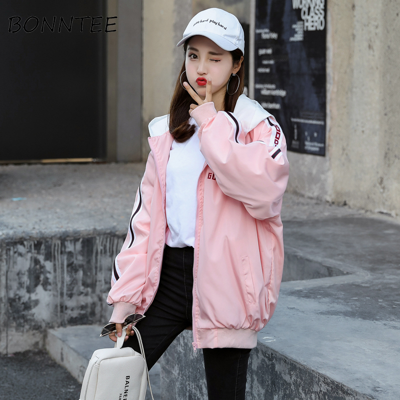 Jackets   Women New Long Sleeve Hip-hop Harajuku Loose Letter Printed   Basic     Jackets   Womens Fashion Chic Students Casual Outerwear
