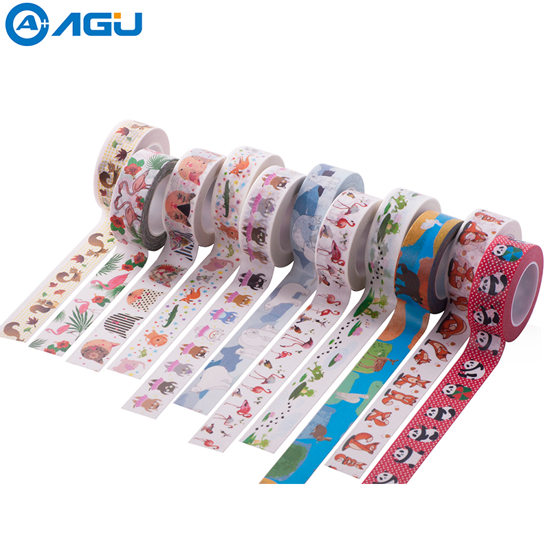 AAGU New Arrival Box Package Fox Washi Tape Single Sided Adhesive Masking Tape Office Supplies High Sticky Stationery Paper Tape aagu new arrival 1pc 15mm 10m musical note fresh floral washi tape strawberry sticky adhesive tape various patterns masking tape