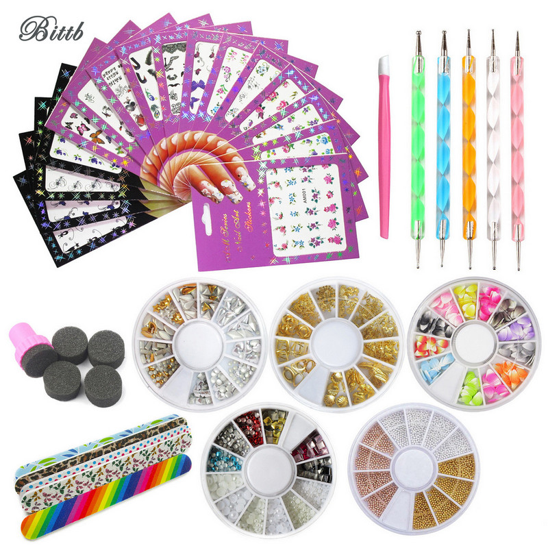 Bittb Nail Art Tool Set Dotting Pen Decal Nail Sticker Manicure Nail File 3D Rhinestones Gem Nail Polishing Stamp Sponge DIY Kit 50pcs cane polymer clay nail art stickers 3d fruit and flower cutted rolls stamp decal tip cute printer diy nail sticker