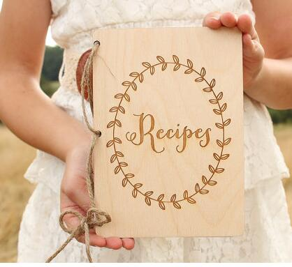 Custom Recipes Notebook Wedding His Her Rustic Wood Vow Book Set His And Her Vows Notebook Set Bridal Shower Gift