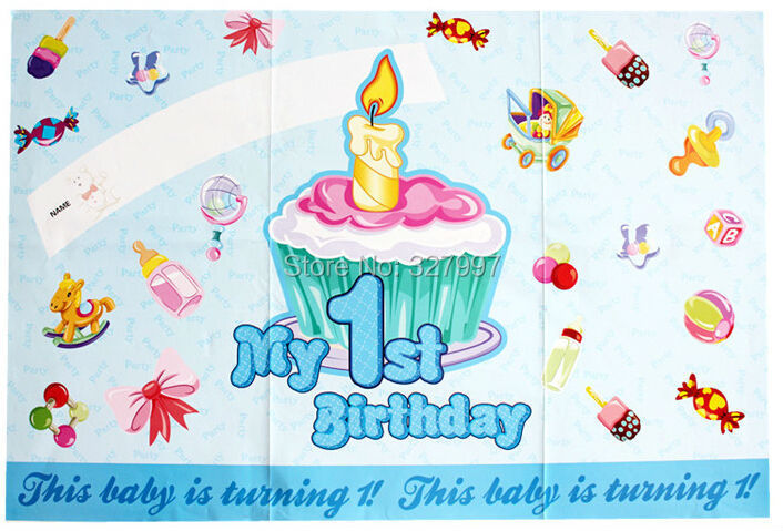 Happy birthday poster children party arrangment 85x58cm personalized