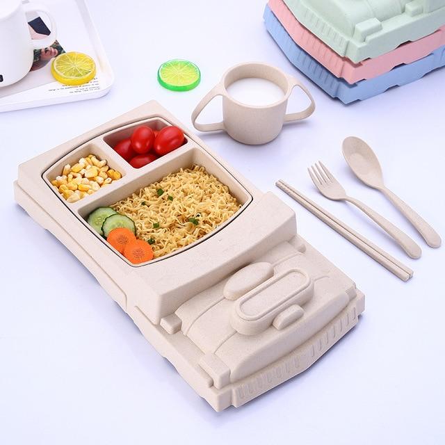 5pcs/set Wheat straw cartoon train Car Baby Tableware Set Trainning Plate With Spoon Fork Baby feeding Bowl Infant dinnerware