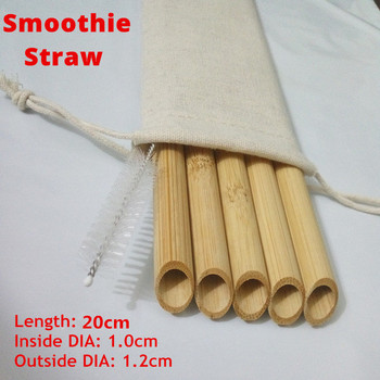 5PCS/Set 20cm Pointed Smoothie Drinking Straw Eco Friendly Reusable Bamboo Straws Big Wide Bubble Milk Tea Drinking Straw Brush 6