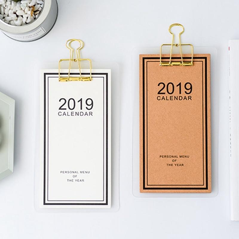 Calendar Gentle 2019 New Year Calendar 2019 Fashion Simple Lovely Mini Table Calendars Vintage Kraft Paper Desk Calendar Office School Supply
